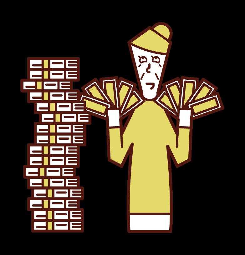 富人和中獎者的插圖