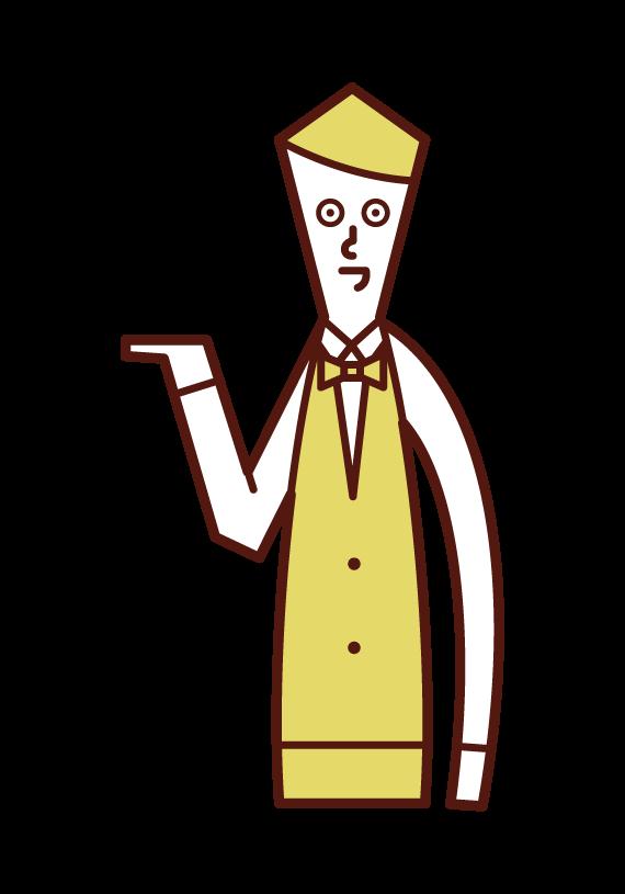 接客・受付・案内をする店員(男性)のイラスト