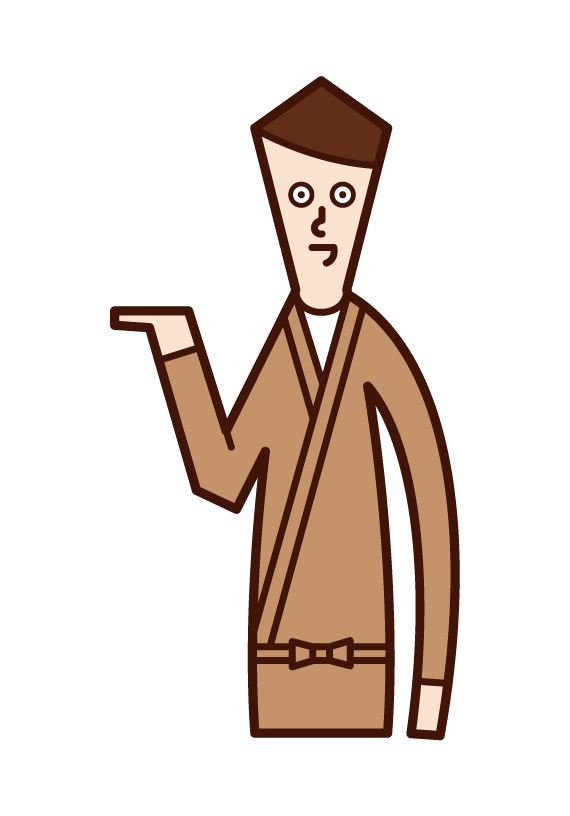 Illustration of a person (male) who serves, accepts, and provides guidance