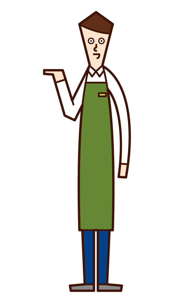 Illustration of a woman who serves, accepts, and provides information