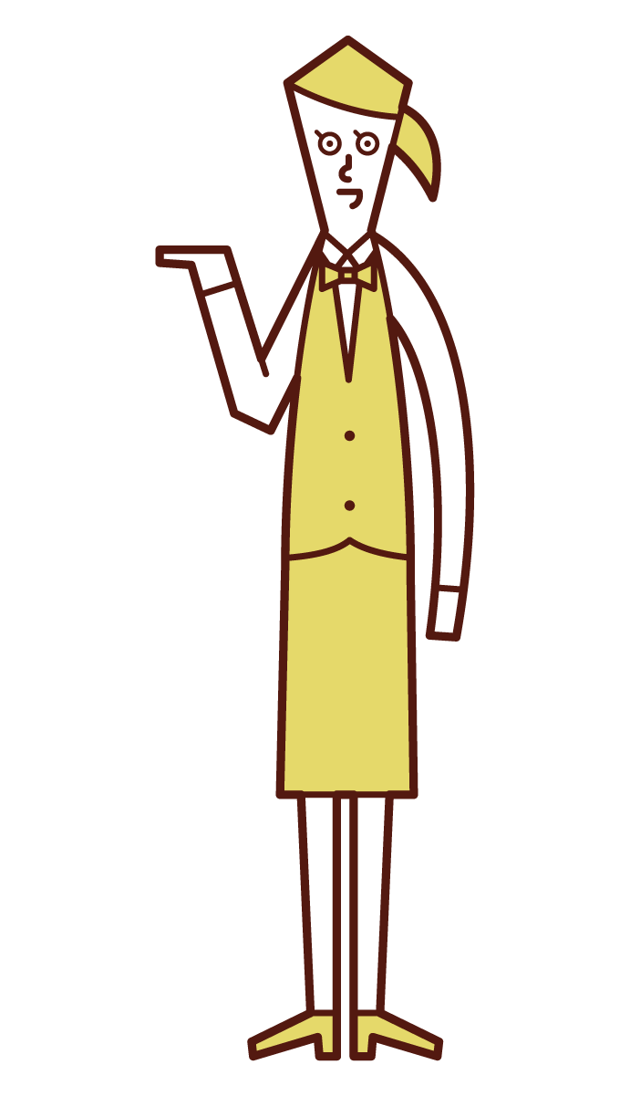 Illustration of a clerk (woman) who serves, accepts, and provides guidance
