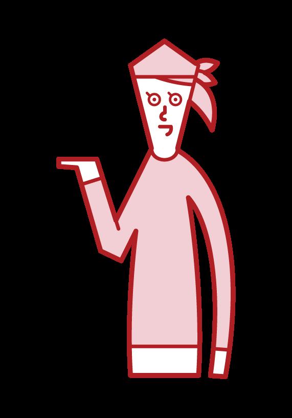 接客・受付・案内をする人(女性)のイラスト