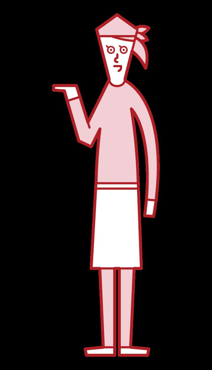 接待、接待和指導人員(女性)的插圖