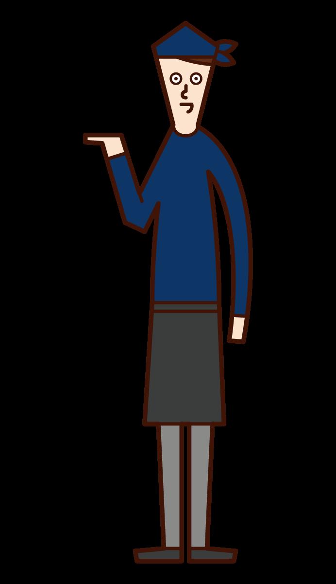 接待、接待和指導客人(男性)的插圖