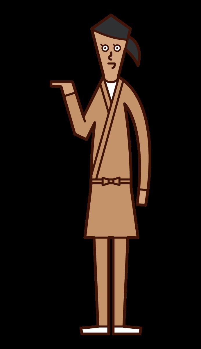 接客・受付・案内をする店員(女性)のイラスト