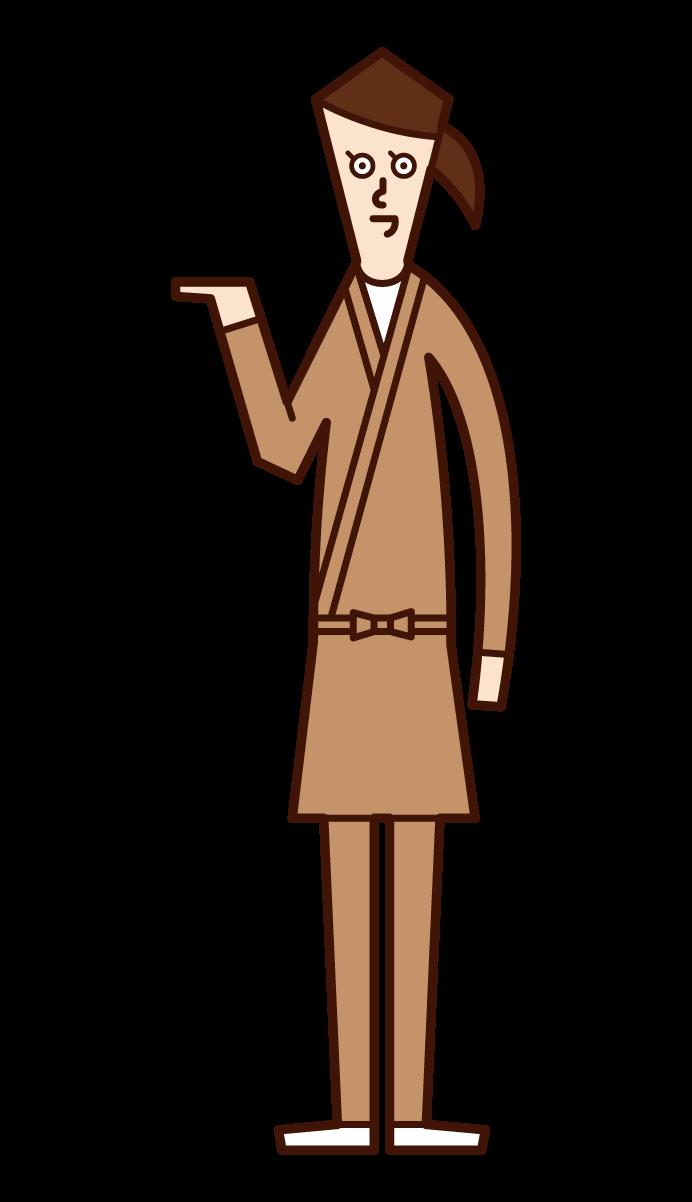 接待、接待和指導的店員(女性)的插圖