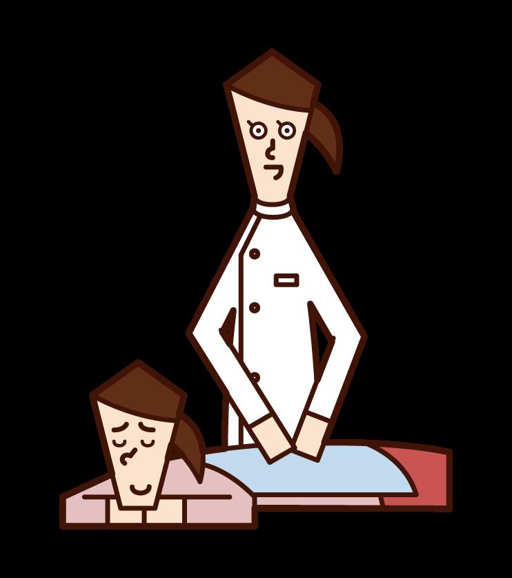 接待、接待和指導的店員(男性)的插圖