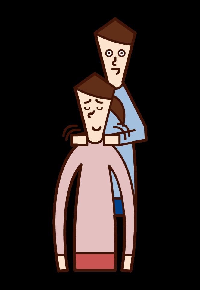 肩上的人(男性)的插圖
