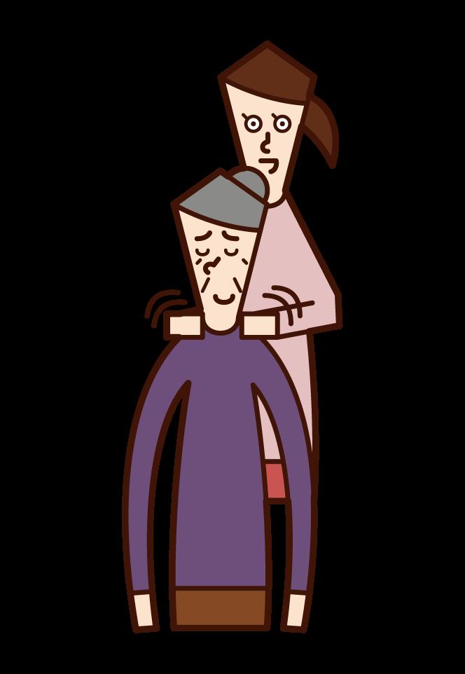 女人的插圖,她坐在祖母的肩膀上