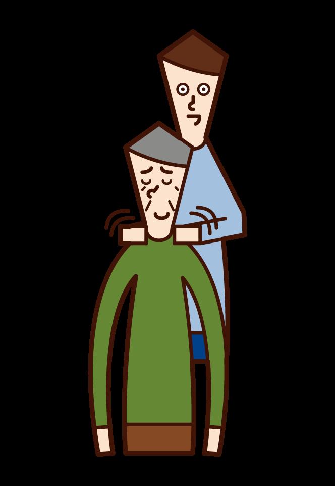 Illustration of a man rubbing his old man's shoulder