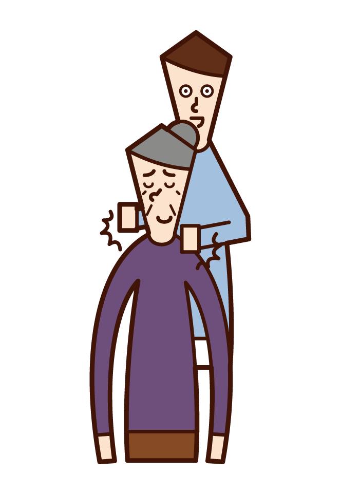 Illustration of a man tapping an old woman's shoulder
