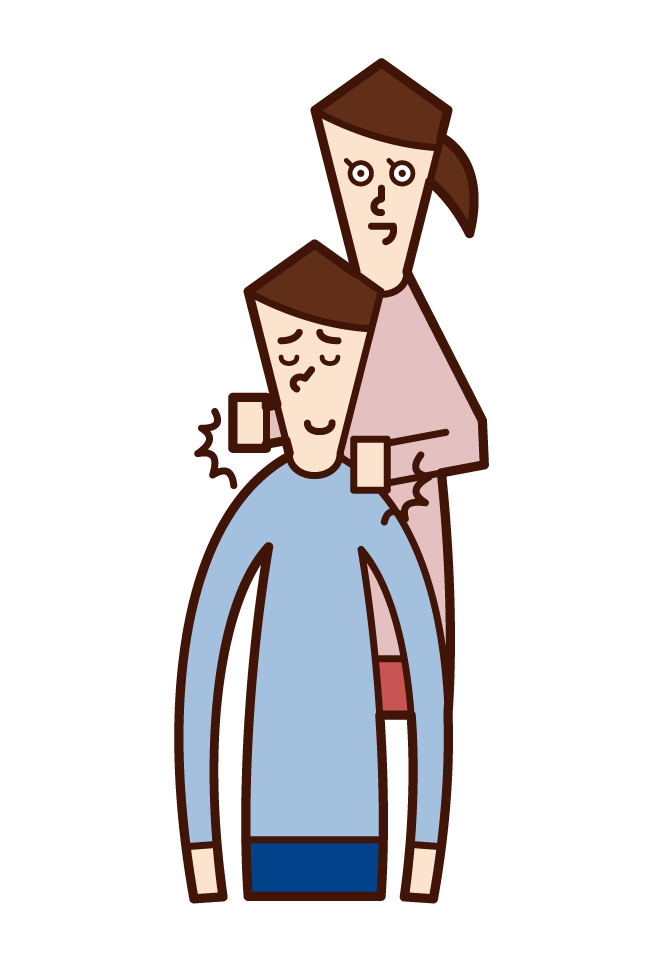 Illustration of a clerk (male) who serves, accepts, and provides guidance