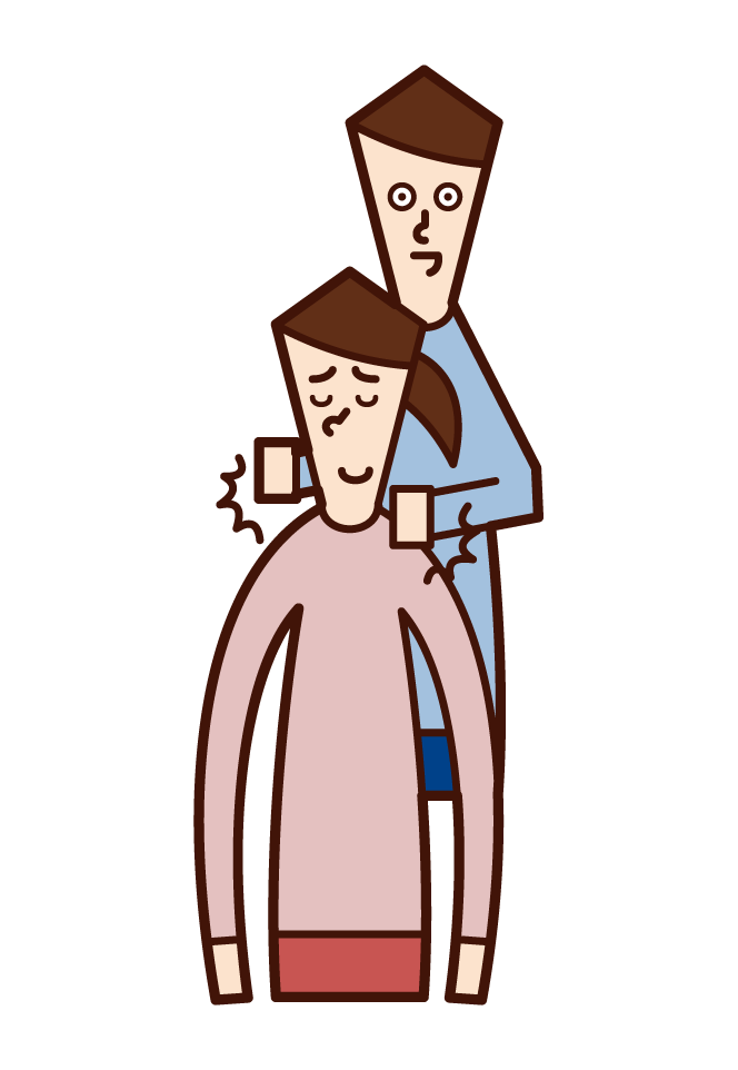Illustration of a woman tapping his wife on the shoulder