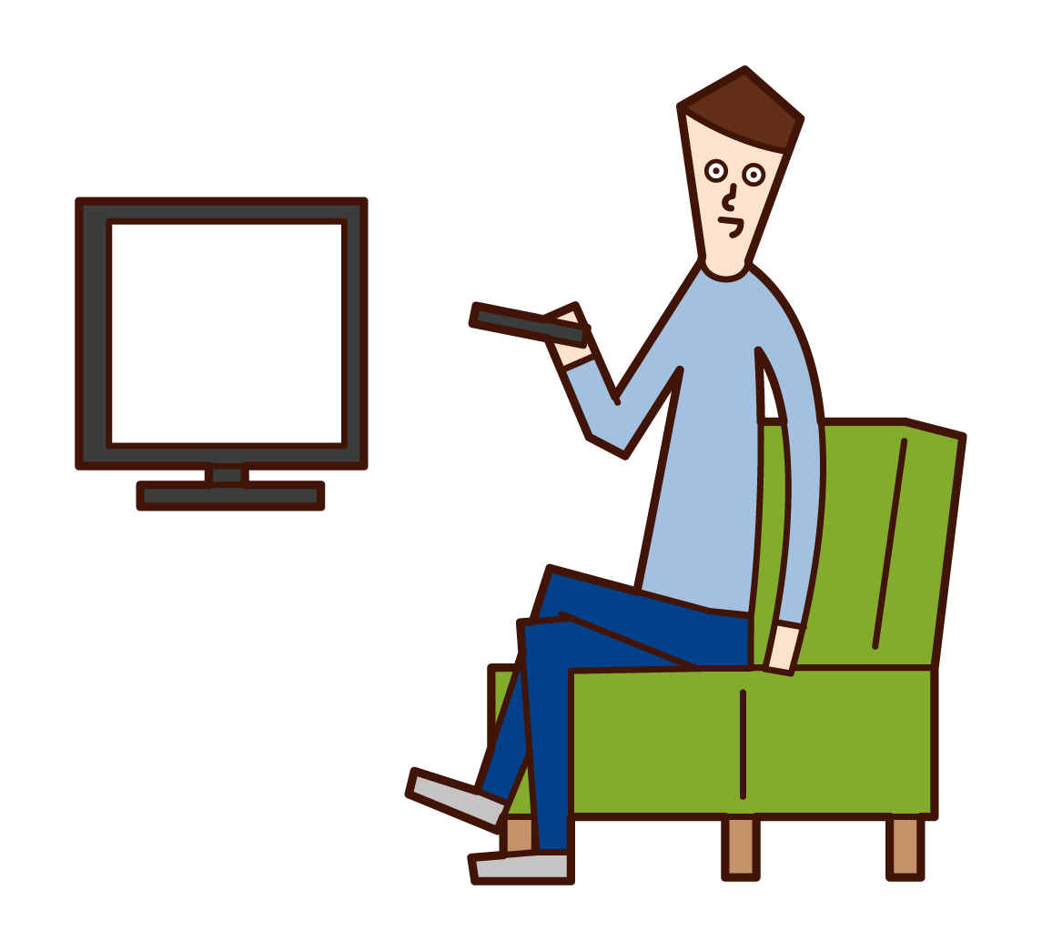 Illustration of a tv watcher (male)