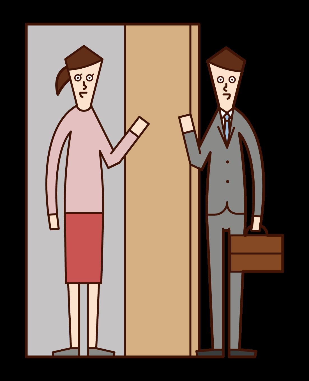Illustration of a visiting salesperson or salesperson (male)