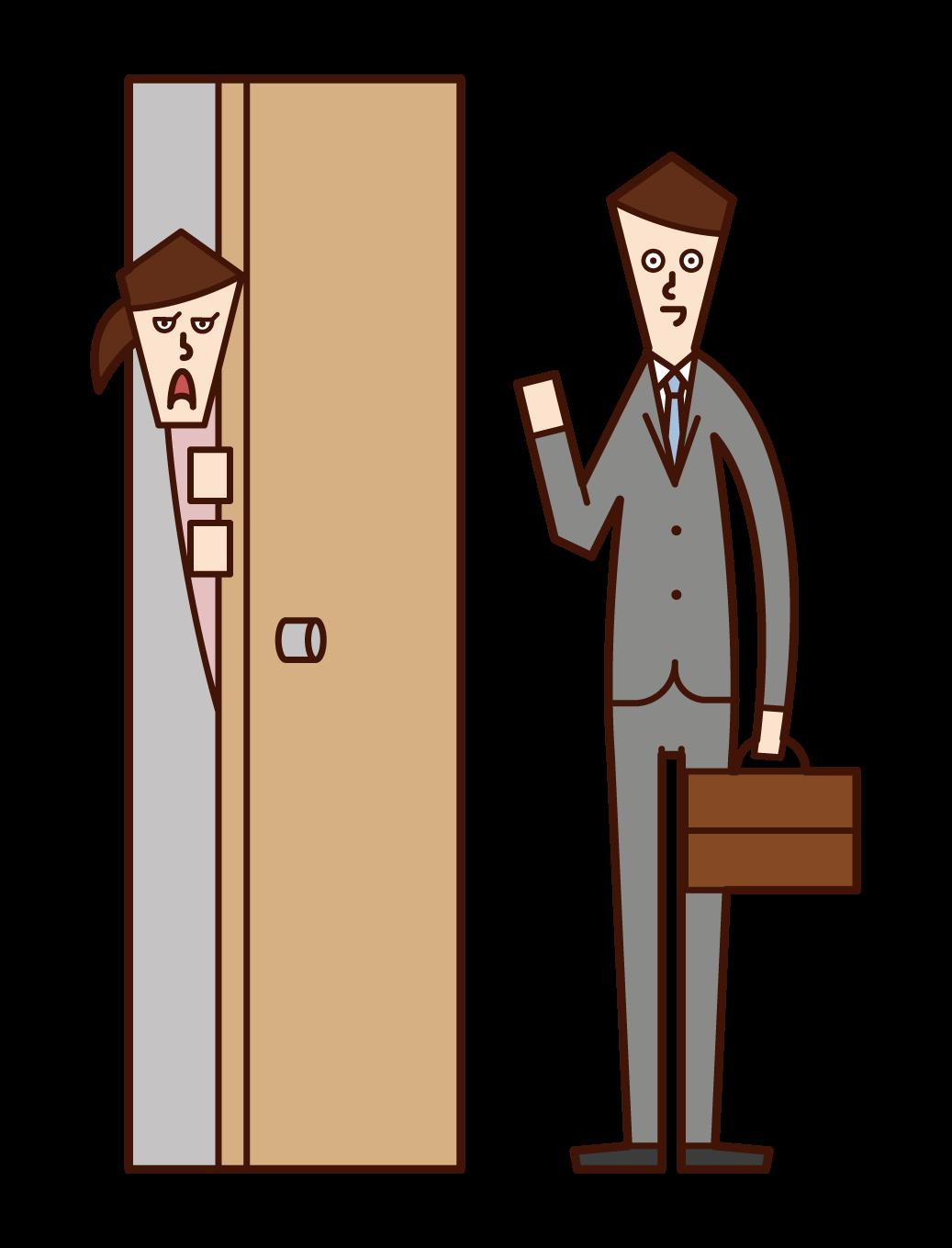 Illustration of a woman who is wary of door-to-door sales staff
