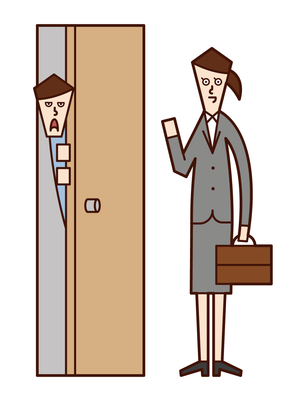 訪問販売員を警戒する人(女性)のイラスト