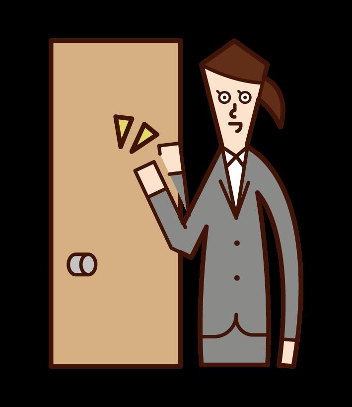Illustration of door-to-door salesperson (woman) knocking on door