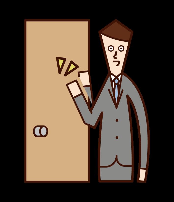 Illustration of door-to-door salesperson (male) knocking on door