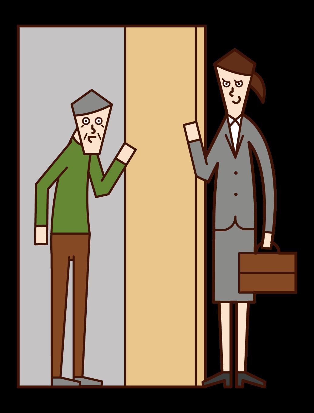 Illustration of a malicious door-to-door salesperson (female)
