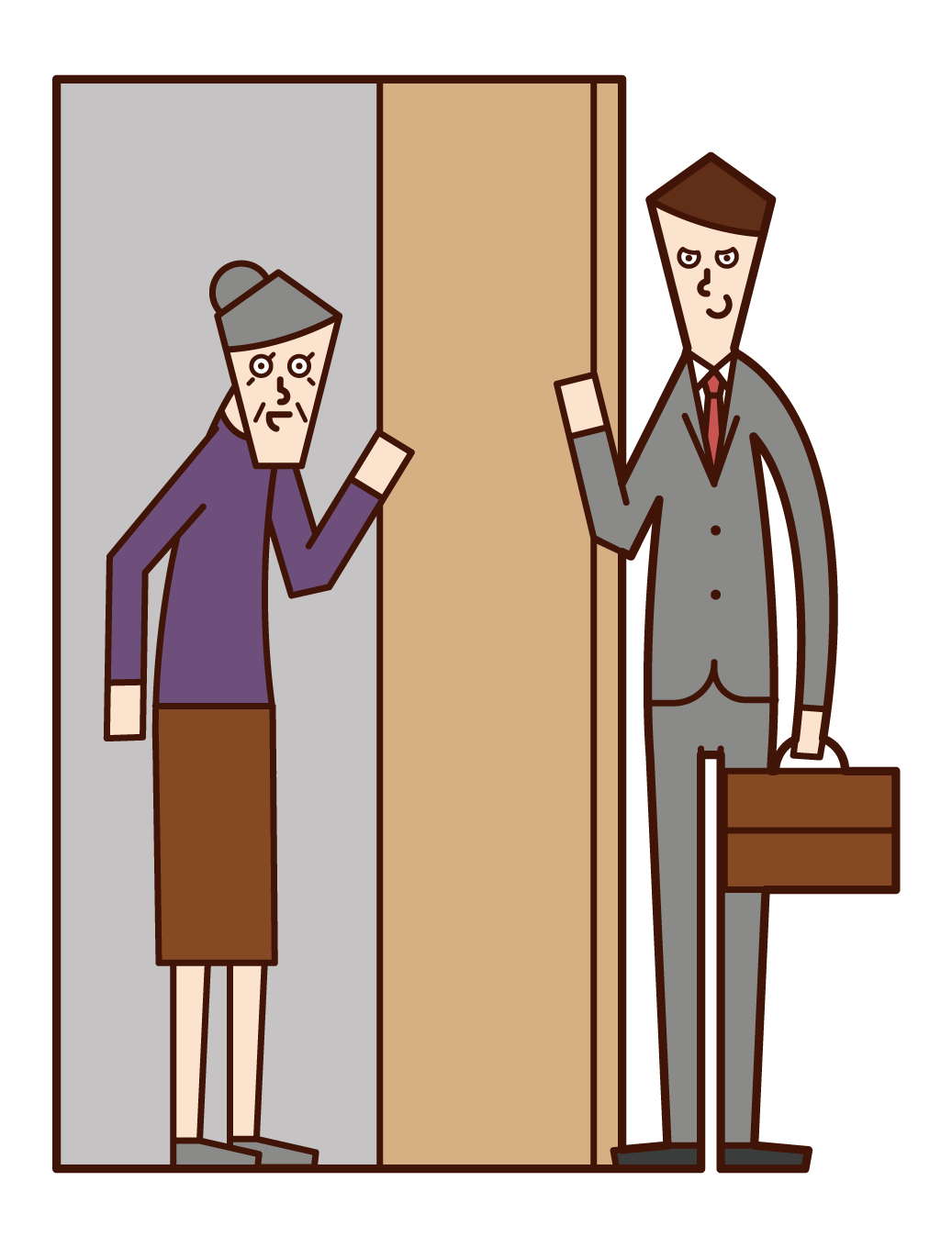 Illustration of a malicious door-to-door salesperson (male)