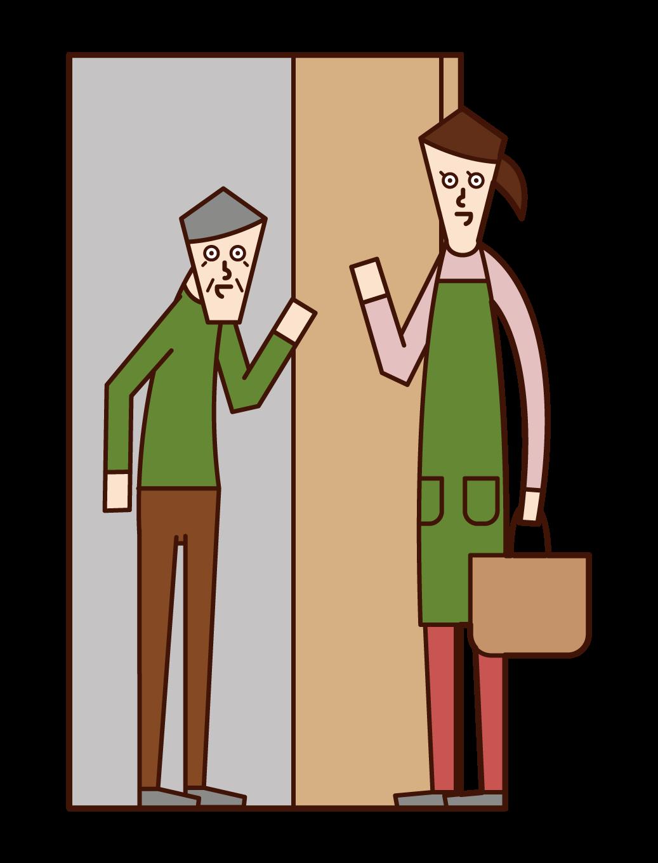 家庭傭工和探視護理人員(女性)的插圖