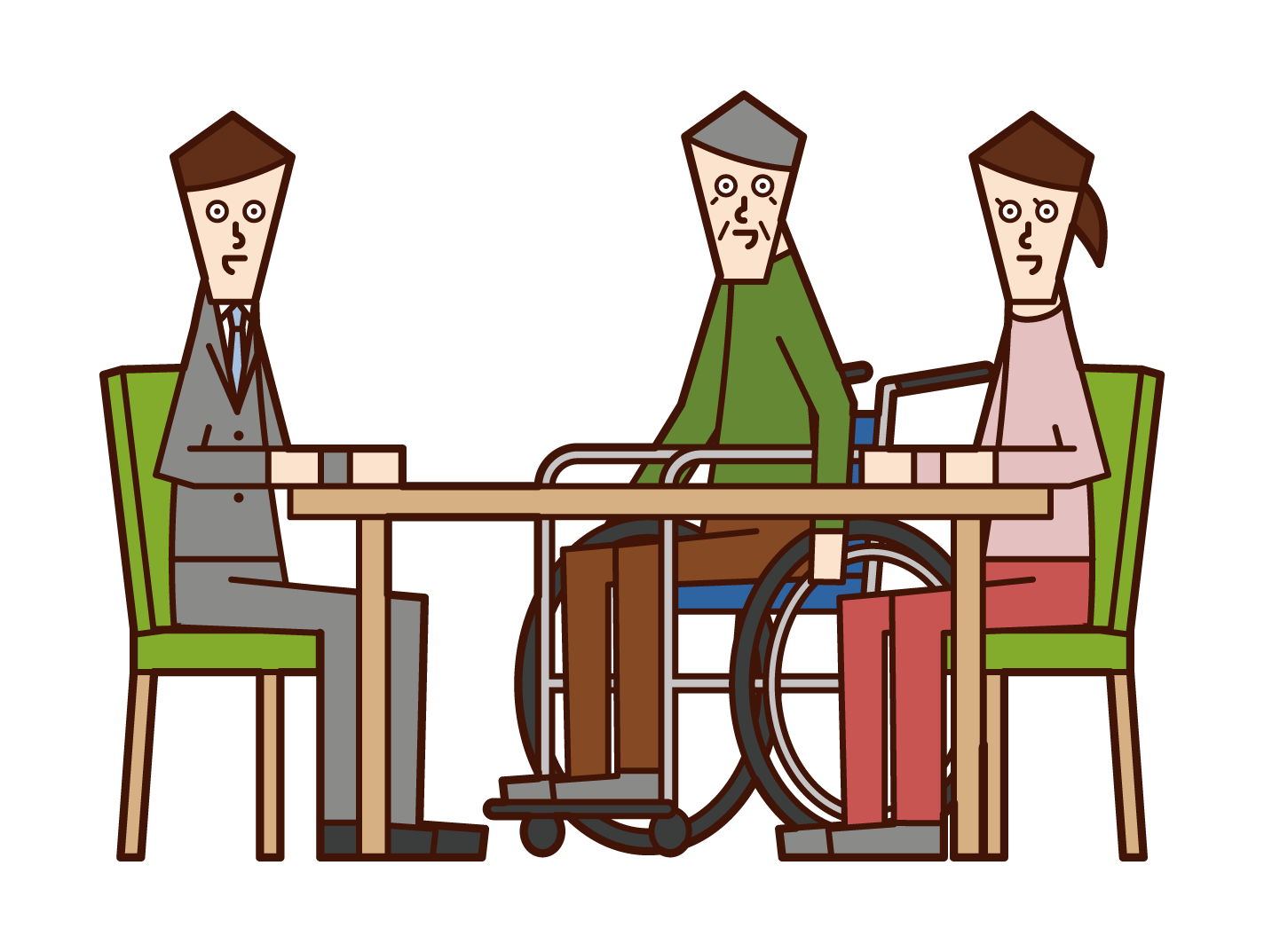 Illustration of a person and counselor who consults about nursing care