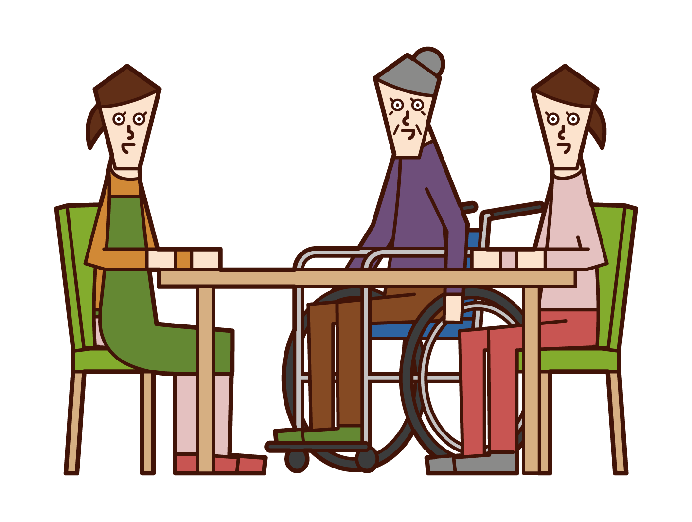 Illustration of a person who consults about nursing care and a care worker and a home helper (woman)