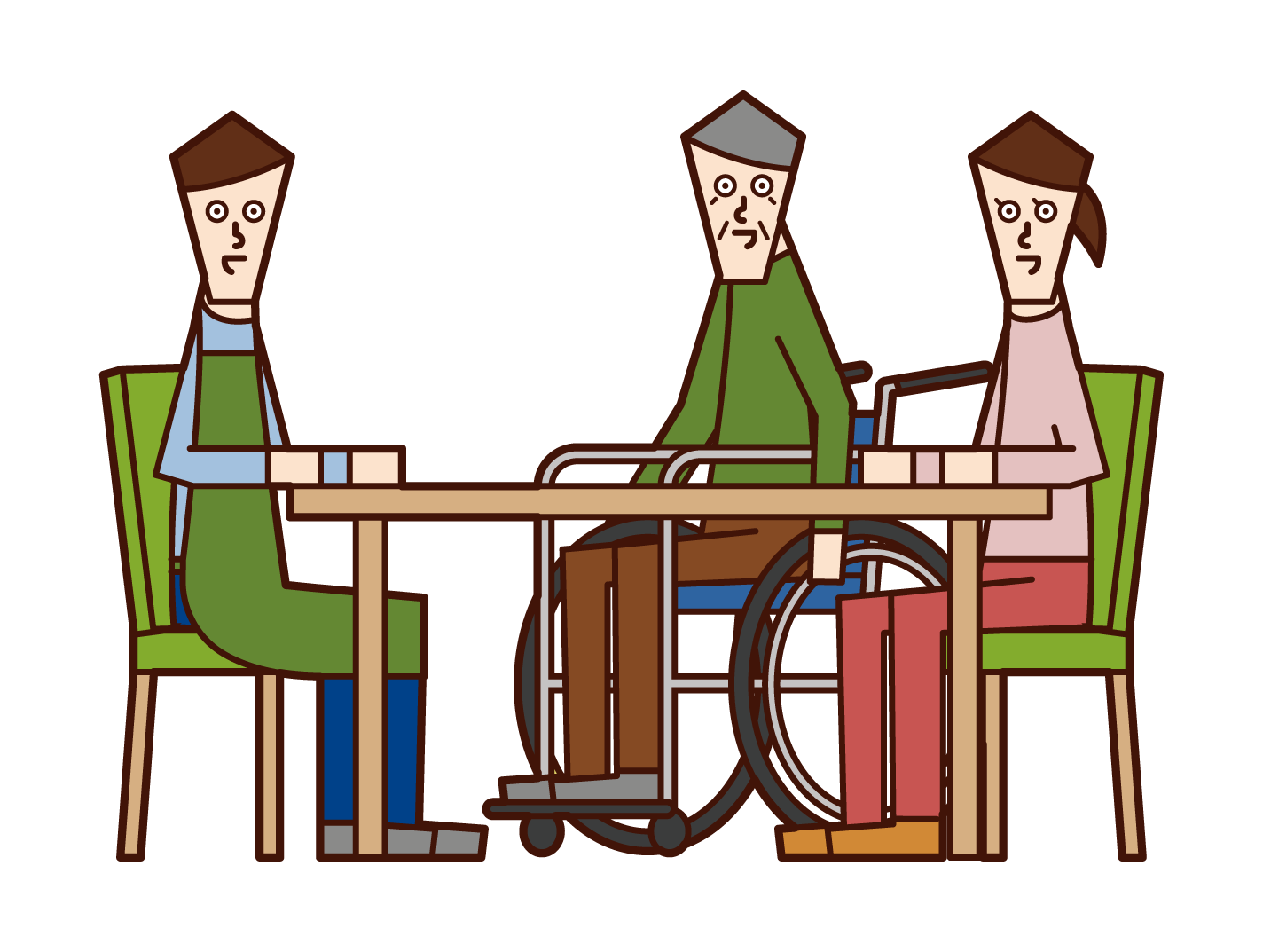 Illustration of a person who consults about nursing care and a care worker and a home helper (male)