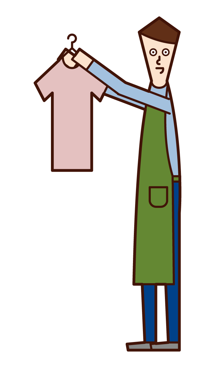 Illustration of a man who hangs out laundry and a home perpper