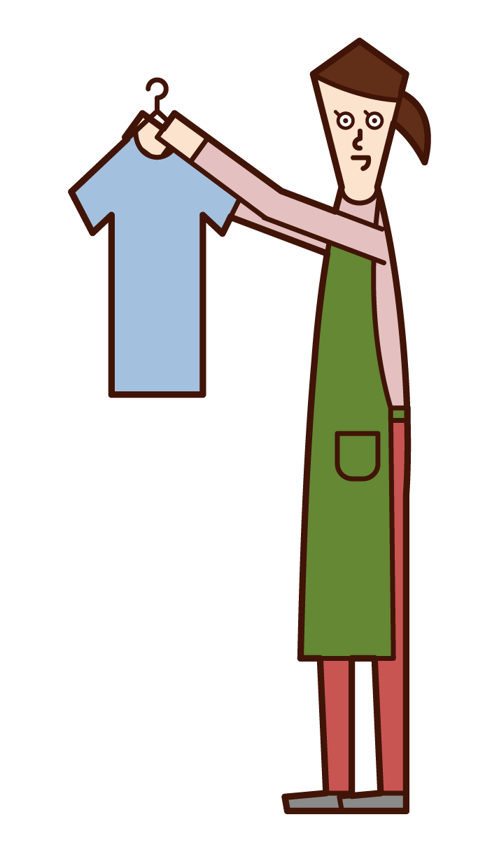 Illustration of a person (woman) who hangs laundry and home perpper