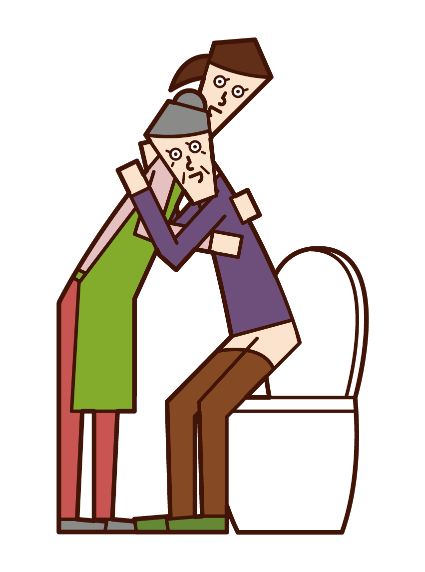 Illustration of care worker and home helper (woman) who helps the elderly with excretion