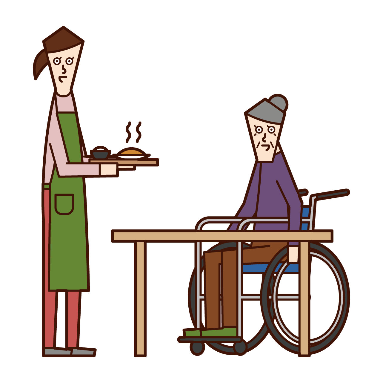 Illustration of care worker and home helper (woman) who prepares meals