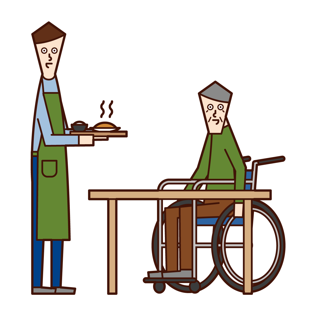 Illustration of care worker and home helper (man) who prepares meals