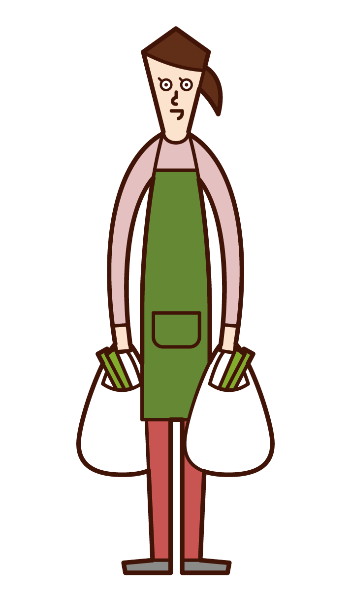 Illustration of a shopping person and home helper (woman)