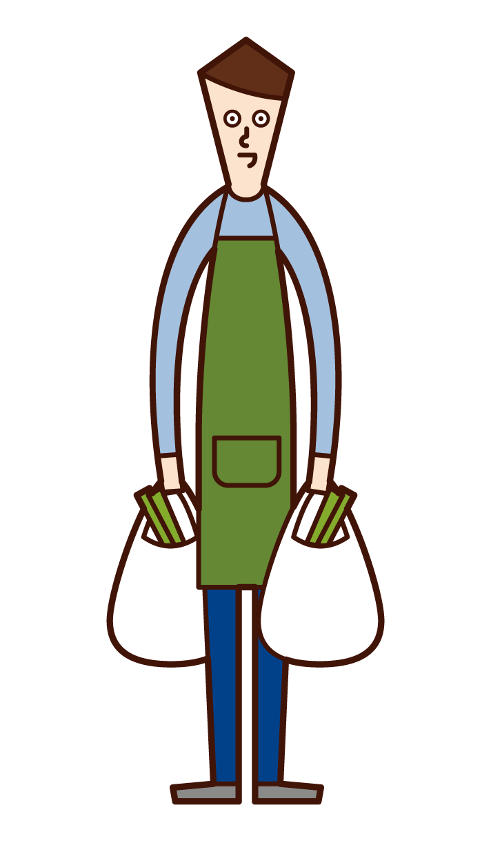 Illustration of a shop shopper and a home helper (male)