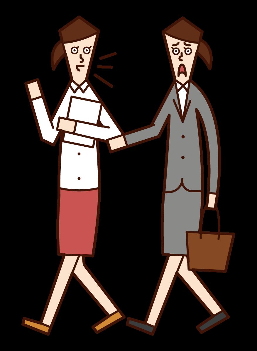 在街上交談的人、顧客和漁獲物銷售(女性)的插圖