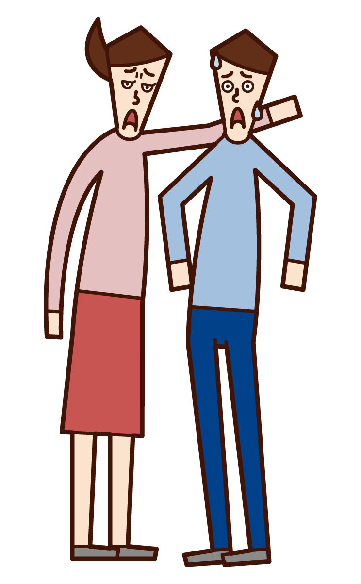 Illustration of a person (woman) threatening a woman