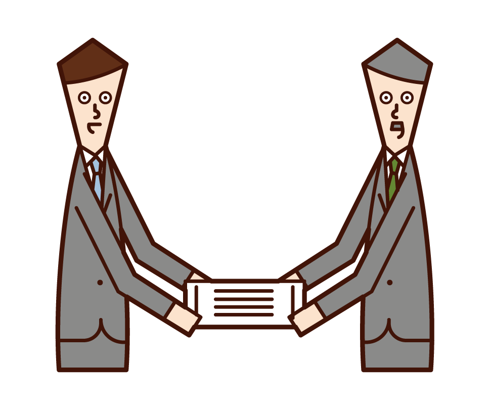 Illustration of a person (male) who is awarded a certificate of commendation