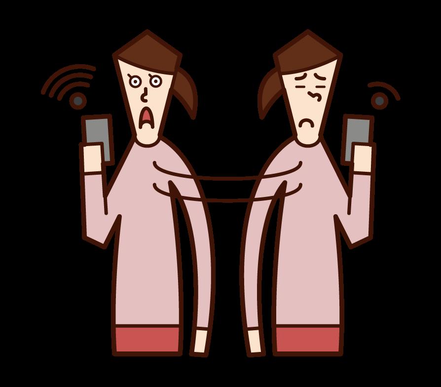 Wi-Fi를 찾는 사람 (여성)의 그림
