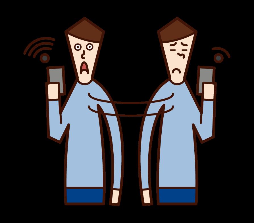 Wi-Fi를 찾는 사람 (남성)의 그림