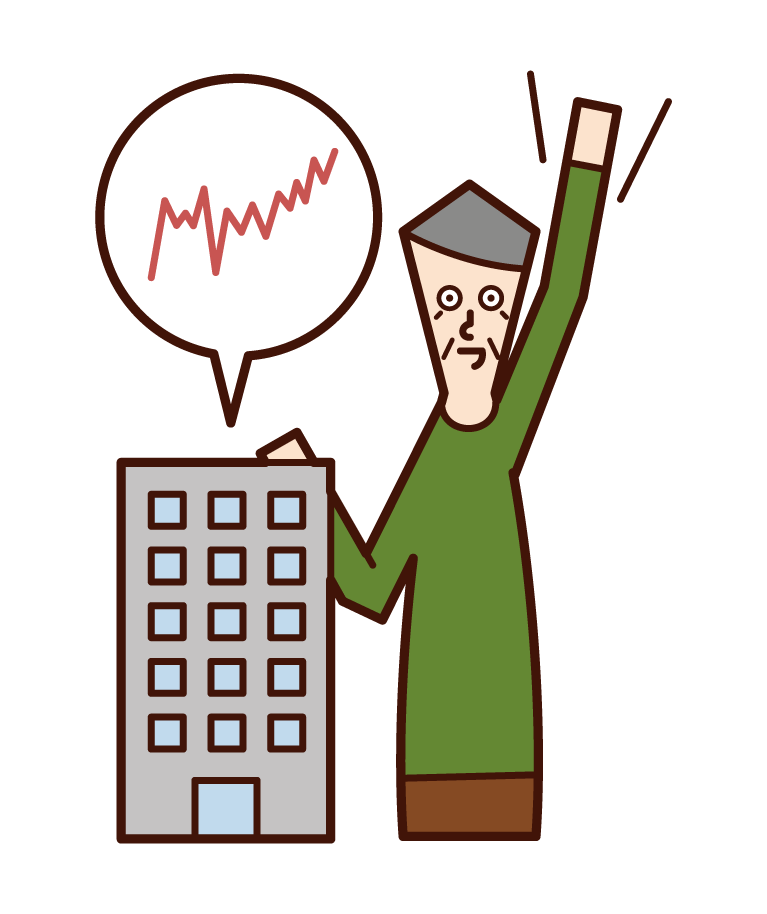株価が上がって喜ぶ株主(おじいさん)のイラスト