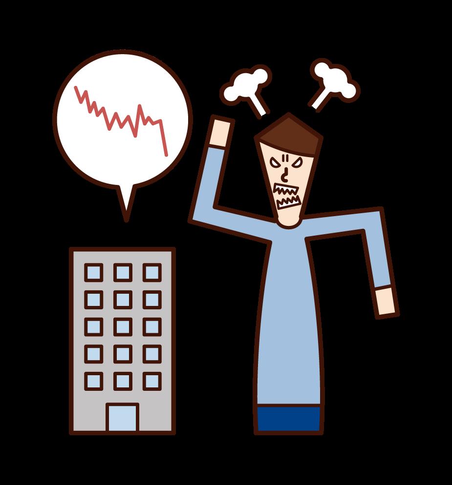 股票價格暴跌和憤怒的人的插圖