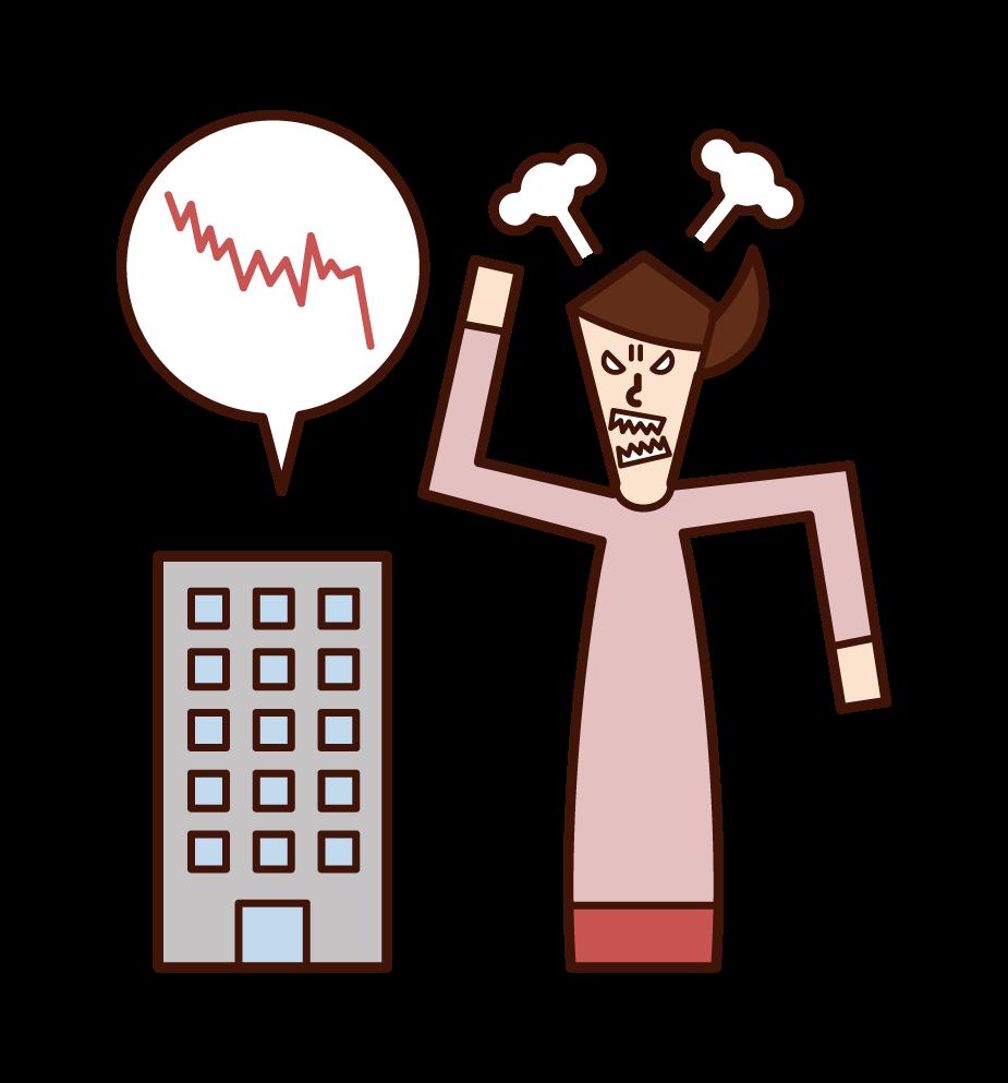 股票價格暴跌和憤怒的人(女性)的插圖