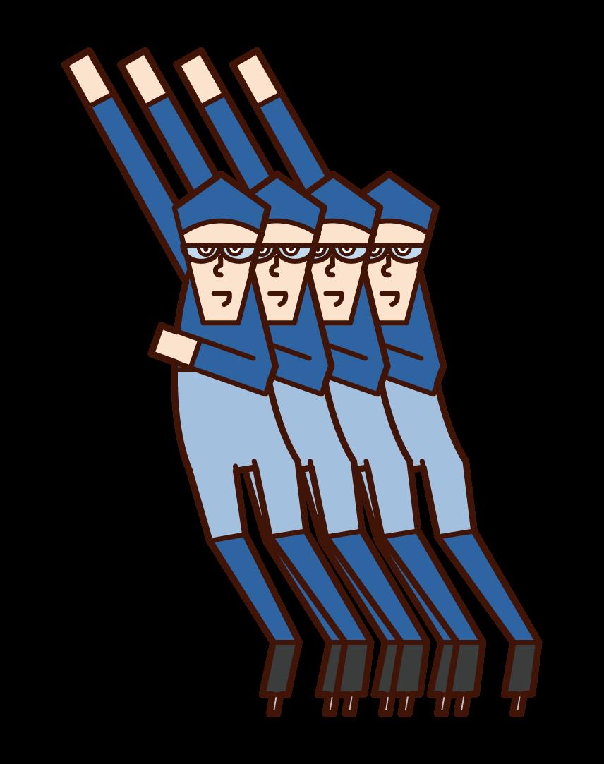 Illustration of speed skaters (men)