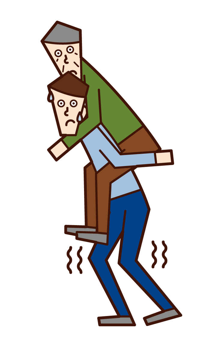 Illustration of a man carrying an elderly person