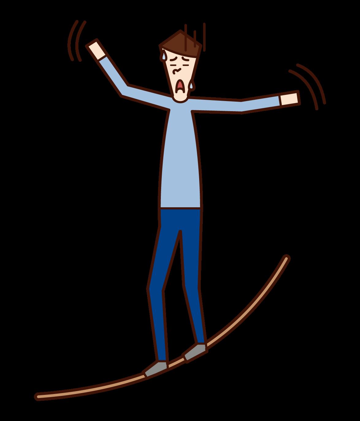 綱渡りをする人(男性)のイラスト