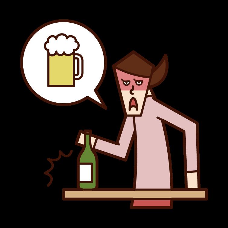 酒癮不好的人(女性)的插圖