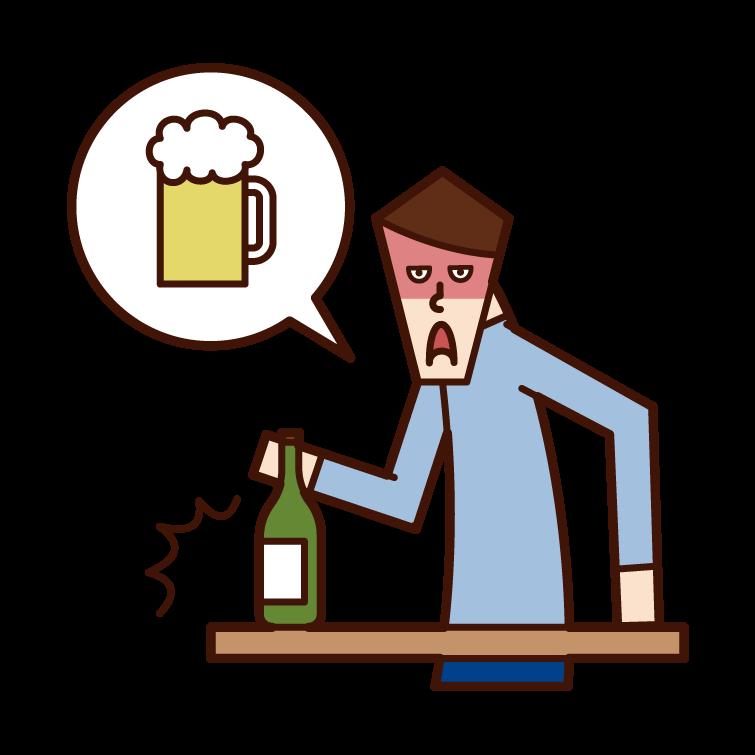 酒癮不好的人(男性)的插圖