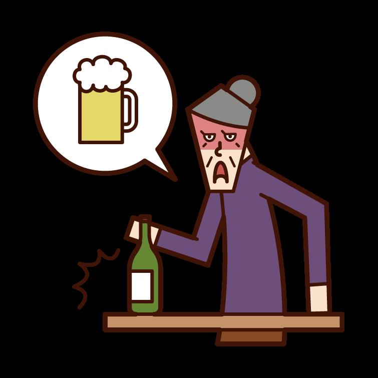 酒癮不好的人(祖母)的插圖
